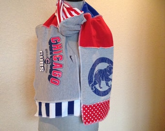Chicago Cubs Scarf, Cubs Baseball Scarf, Cubs Scarf, Upcycled Tshirt scarf, cubs7,
