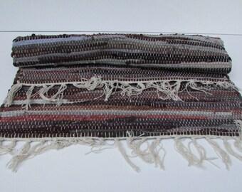 Vintage Hand Woven Rag Rug, Colorful Rag Rug Average, Handwoven Scrap, Cotton  Rag
