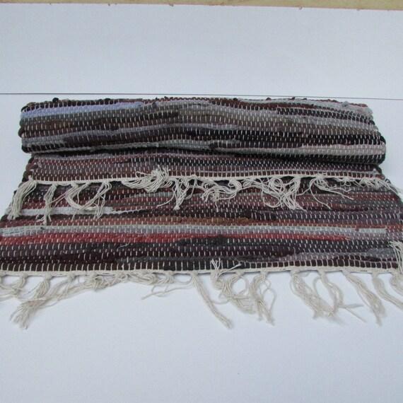 Vintage Hand Woven Rag Rug Colorful Rag Rug Average