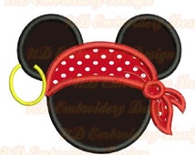 Pirate Mickey Mouse Embroidery Applique Design, Mouse ears Machine embroidery,  ms-112