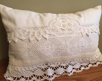 11-10-15 White repurposed Vintage Pillow