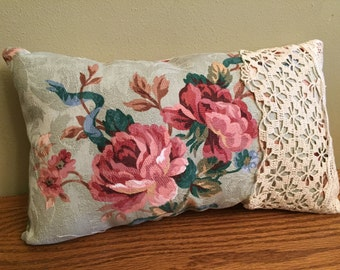 12-10-15 Vintage Flower Fabric Pillow