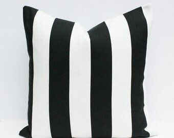 Black & White Striped Pillow Cover - 18 x 18