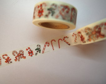 Cute Christmas Candy Cane with Hearts Japanese Washi Tape for Scrapbooking, Planning and Journalling!