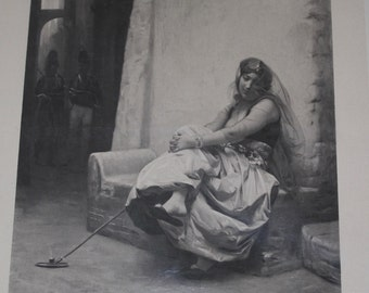 Antique Print of Egyptian Beauty, Cairo, by Gerome, Pipe, 1880's