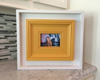 White and Yellow, Rustic, Shadow-box Inspired Frame for a 4x6.