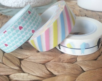 Masking tapes washi tapes coloured and pastel