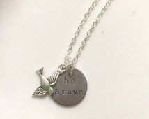 Be Brave Divergent Inspired Hand Stamped Necklace