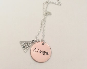 Always. Harry Potter inspired hand stamped necklace