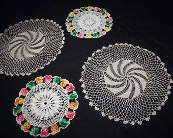 Crocheted starched doilies