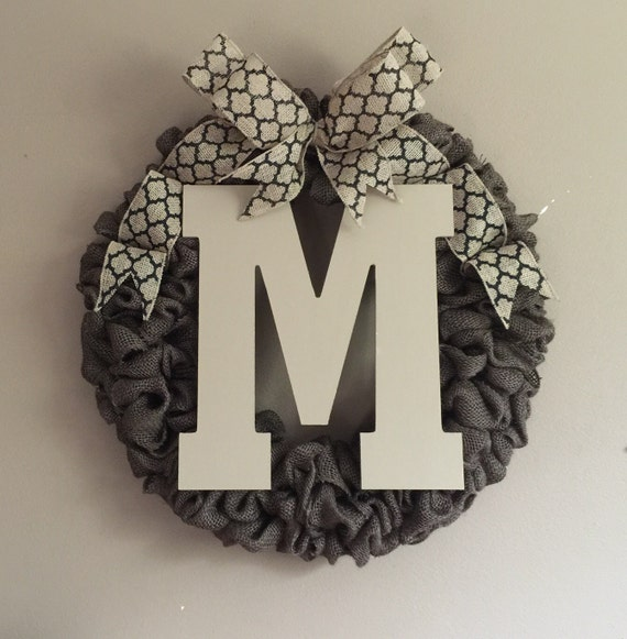 Monogram Front Door Decoration: Front Door Initial Wreath Front Door Decor Front By