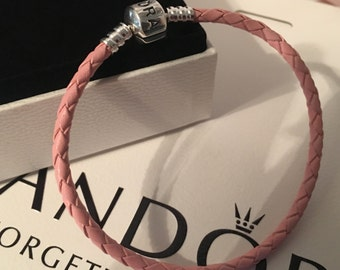 Pandora Charm Bracelet-Authentic Pandora Pink Single Strand Braided Leather Bracelet