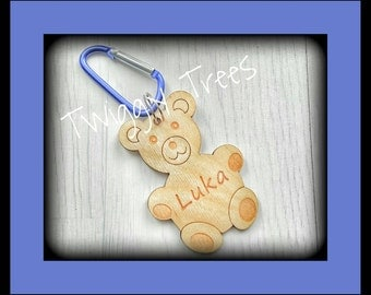 Teddy Teddybear Bear  Bag Charms school book backpack personalised name keyring keychain clip wooden engraved gift present friend