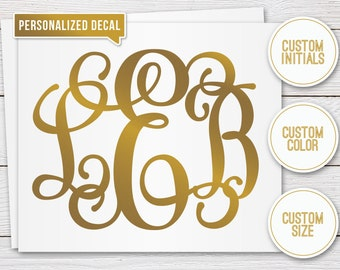 Gold Personalized Monogram Decal - Monogram Sticker - Script Monogram Decal - Guest Book Sticker, Wedding Decal, Planner Decal, Laptop Decal