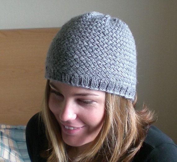 Men s Hat Knitting Pattern Dk : Knitting PATTERN, Knit beanie hat pattern, woven stitch ...