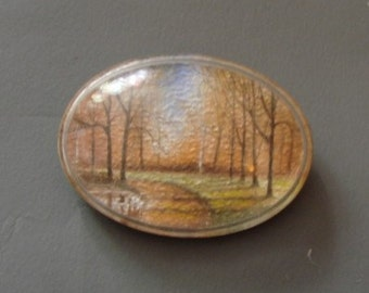 Vintage 1940s/1950s 40s 50s Hand Painted Autumn Trees Plastic Brooch Pin