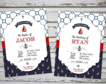 Nautical Marine Baptism Christening Invitation Printable