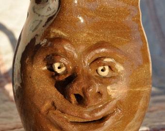 Happy Face Pitcher, Handmade Ceramics, North Carolina Pottery