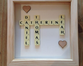 Scrabble design your own choose your words and backing. Wood frame.