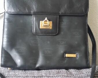 HCL logo print black handbag/shoulder bag