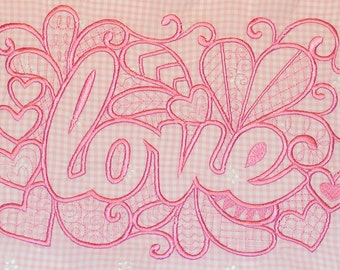 Love love embroidery application to other sewing application image wedding table set pink pink red