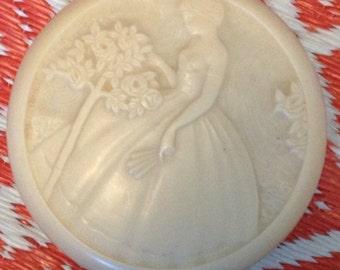 antique art deco Eduard Fornells bakelite powder jar