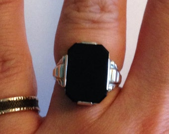 French antique art deco sterling silver and onyx ring