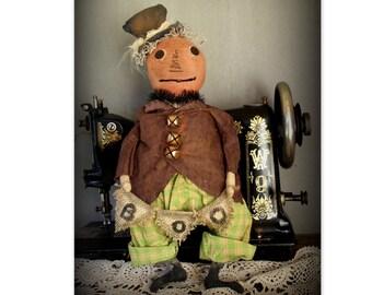 Primitive Pumpkin Head Folk Art Doll~BOO~Handmade