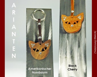 Key chain cat wooden with SWAROVSKI ELEMENTS