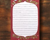 Hand Illustrated Small Plum and Floral Notepad with Bluebird stationary