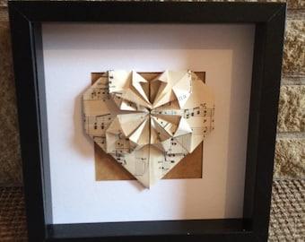 Framed Vintage Music Sheet Origami Heart