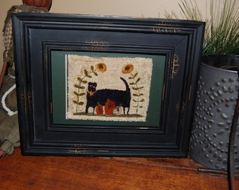 Fraidy Cat Primitive Punch Needle Framed and Matted