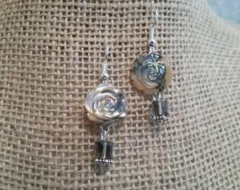 Paua Shell Rose Earrings, Rose Earrings, Swarovski Crystal Earrings, Crystal Earrings