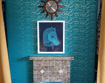Horse print mid century inspired to have a handmade vintage finish. Bitossi inspired retro image