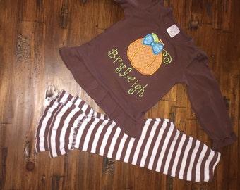Brown ruffle pumpkin outfit
