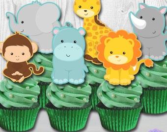 Jungle Safari Animals Cupcake Toppers, Cupcake Picks DIGITAL FILE, You Print