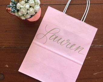 Personalized Gift Bag, Blush, Light Pink, Gold, Silver Hand-lettered, Custom, Bridesmaid Gift, Bridal Party, Goodie Bag, Baby Girl, Shower