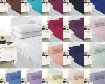 Luxury Plain Dyed Sheet Set Include Fitted Sheet, Flat Sheet & Pillow Cases All In One