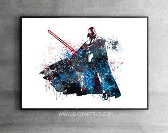 "CLEARANCE Dorm wall art, Darth Vader 11""x17"" Poster, Star Wars wall art Darth Vader Print Star Wars watercolour Art, Darth Vader Art WT215"