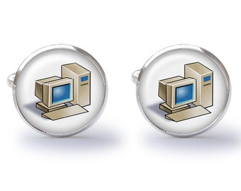 Desktop Computer Cufflinks - Vintage Computer Cufflinks - Retro Computer Cufflinks Cuff Links (Pair) Lifetime Guarantee