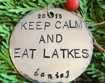 Keep Calm and Eat Latkes/Funny Hanukkah Ornaments/Latkes/Keep Calm/Funny Ornaments/Funny Chanukah/Funny Hanukkah/Chrismukkah Ornaments