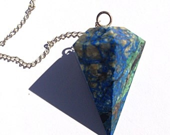 Natural Azurite stone pendulum