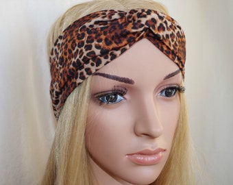 Leopard Turban Headband Wide Twist Headband Head Wrap Turban Twist Yoga Headband Women's Hair Accessoies gift for her Handmade urban turban