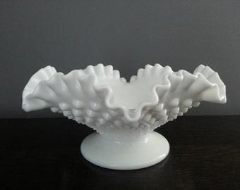 Sale 30% Off - Vintage Hobnail Milk Glass Ruffled Edge Bowl Dish ~ Cottage Chic