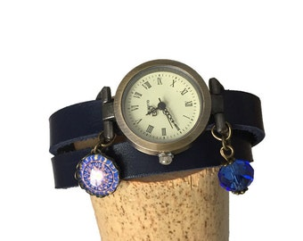 Women's blue leather watch with blue crystal