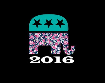 GOP Republican Elephant 2016 Vinyl Decal! Show your Party affiliation and support, but with your own personal style!