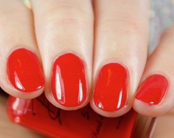 Classy Lady - Classic Red nail polish with micro glitters