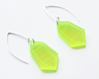Laser Cut Neon Green Acrylic Crystal Earrings / Modern & Minimalist Jewelry / Cyberpunk Jewelry / Futuristic / Low Poly / Fluorescent