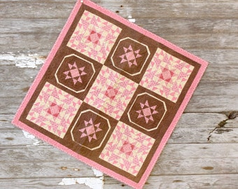 Pink and Brown Civil War Wall Hanging Mini Quilt Reproduction Fabric Wall Hanging