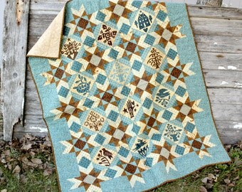 Blue Lap Quilt  Quilted Throw   Small Quilt  Handmade Quilt
